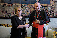 Cardinal Pietro Parolin.Pope Francis and Chile's President Michelle Bachelet laugh during a private audience on June 5, 2015 at the Vatican.