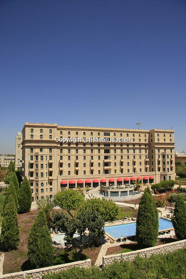 Israel, Shephelah. A model of the King David hotel in Mini Israel park