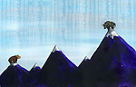 Illustrative image of bear and bull on top of mountains representing ups and downs of share market