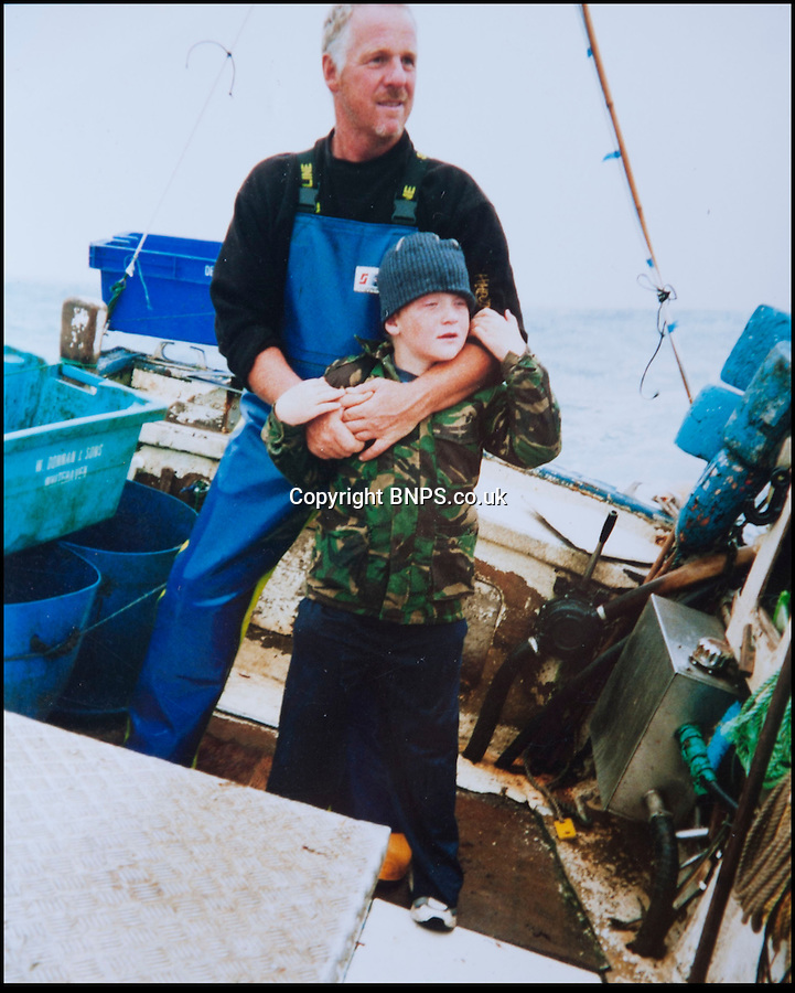 BNPS.co.uk (01202) 558833<br /> Picture: Peter Willows<br /> <br /> Young Levi at sea with his dad.<br /> <br /> All at sea - In a fast changing world the Dorset fishing family still going strong after 350 years.<br /> <br /> Young Levi Miller is ensuring the survival of his family's 350-year-old seafaring tradition - by becoming it's tenth generation of Dorset fisherman. The 16-year-old's ancestors have been fishing off the Dorset coast since Henry Miller first set sail in the 1670s. <br /> <br /> Levi has now become the latest family member to choose a life on the waves and has begun learning the trade onboard his father's fishing boat. Levi got hooked on fishing as a child and despite only just finishing school, he says there is nowhere else he would rather be than hauling in fish alongside his dad and to play his own part in his family's historic trade.