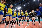 24.02.2019, SAP Arena, Mannheim<br /> Volleyball, DVV-Pokal Finale, SSC Palmberg Schwerin vs. Allianz MTV Stuttgart<br /> <br /> Jubel Schwerin nach Matchball / Sieg<br /> Tessa Polder (#5 Schwerin), Greta Szakmary (#1 Schwerin), ssc09, Ralina Doshkova (#3 Schwerin), Beta Dumancic (#11 Schwerin), Jennifer Geerties (#6 Schwerin), Anna Pogany (#4 Schwerin)<br /> <br />   Foto © nordphoto / Kurth
