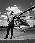 Golfer Greg Norman photographed with his helecopter in in Orlando, Florida