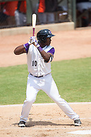 Courtney Hawkins (10) of the Winston-Salem Dash at bat against the Frederick Keys at BB&T Ballpark on July 30, 2014 in Winston-Salem, North Carolina.  The Dash defeated the Keys 12-2.   (Brian Westerholt/Four Seam Images)