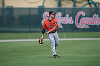 GCL Astros outfielder Colin Barber (15) throws the ball in during a Gulf Coast League game against the GCL Cardinals on August 11, 2019 at Roger Dean Stadium Complex in Jupiter, Florida.  GCL Cardinals defeated the GCL Astros 2-1.  (Mike Janes/Four Seam Images)