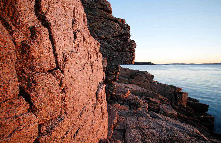 Rocky shoreline, Frenchman Bay, Mount Desert Island, Acadia National Park, Hancock County, Maine, USA