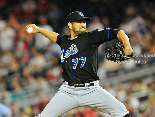 New York Mets pitcher D.J. Carrasco (77) pitches in the eighth inning against the Washington Nationals at Nationals Park in Washington, D.C. on Friday, July 29, 2011.  The Mets won the game 8 - 5..Credit: Ron Sachs / CNP.(RESTRICTION: NO New York or New Jersey Newspapers or newspapers within a 75 mile radius of New York City)