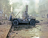 Saigon, Vietnam - December 24, 1964 -- At approximately 1800 hours (6:00 PM) on Christmas Eve, an explosion in the parking area of the Brink BDQ on Hai Ba Troung Street, tore a hole through two floors of the building, destroying a number of vehicles in the area, killing one man and injuring over seventy others, both American and Vietnamese..Credit: U.S. Army via CNP