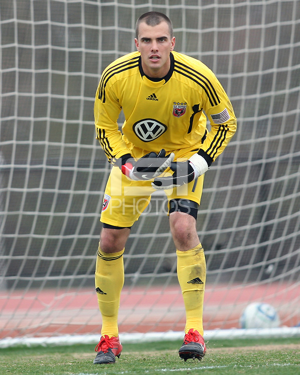 Steve Cronin#1 of D.C. United  during a scrimmage against the University of Maryland at Ludwig Field, University of Maryland, College Park, on April  10 2011. D.C. United won 1-0.