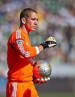 CARSON, CA - June 17, 2012: Portland Timbers goalie Troy Perkins (1) during the LA Galaxy vs Portland Timbers match at the Home Depot Center in Carson, California. Final score LA Galaxy 1, Portland Timbers 0.