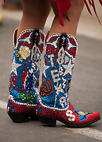 DEL MAR, CA - NOVEMBER 03: A fan sports custom boots on Day 1 of the 2017 Breeders' Cup World Championships at Del Mar Thoroughbred Club on November 3, 2017 in Del Mar, California. (Photo by Carson Dennis/Eclipse Sportswire/Breeders Cup)