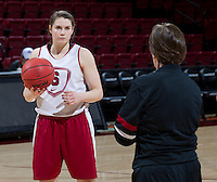 Stanford, CA., March 25, 2013,--Sara James chats with Stanford women's basketball head coach Tara VanDerveer  during team practice for there second round NCAA 2013 basketball championship game against Michigan on Monday, March 25, 2013, at Maples Pavilion.  ( Norbert von der Groeben )