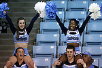 05 November 2014: UNC cheerleaders. The University of North Carolina Tar Heels hosted the Carson-Newman University Eagles at Carmichael Arena in Chapel Hill, North Carolina in an NCAA Women's Basketball exhibition game. UNC won the game 88-27.