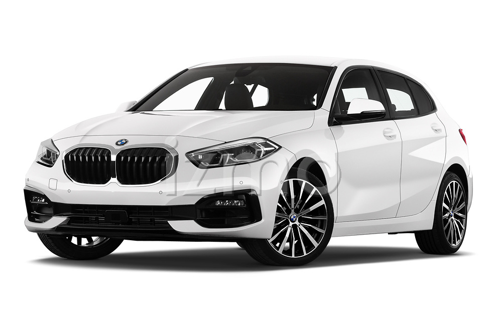 Stock pictures of low aggressive front three quarter view of 2020 BMW 1-Series Sport 5 Door Hatchback Low Aggressive