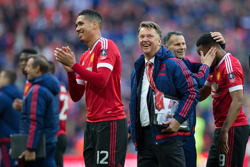 Manchester United manager Louis van Gaal celebrates at full time<br /> <br /> Photographer Craig Mercer/CameraSport<br /> <br /> Football - The FA Cup Semi Final - Everton v Manchester United - Saturday 23rd April 2016 - Wembley - London<br /> <br /> &copy; CameraSport - 43 Linden Ave. Countesthorpe. Leicester. England. LE8 5PG - Tel: +44 (0) 116 277 4147 - admin@camerasport.com - www.camerasport.com