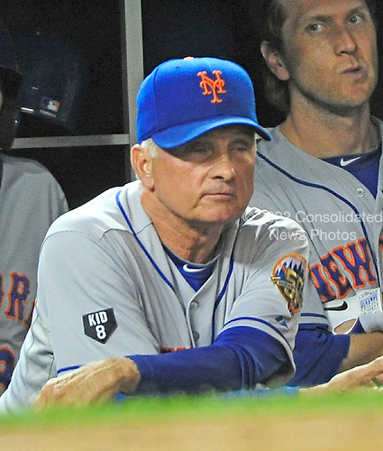New York Mets manager Terry Collins (10) watches ninth inning action against the Washington Nationals at Nationals Park in Washington, D.C. on Saturday, August 18, 2012.  The Mets won the game 2 - 0..Credit: Ron Sachs / CNP.(RESTRICTION: NO New York or New Jersey Newspapers or newspapers within a 75 mile radius of New York City)