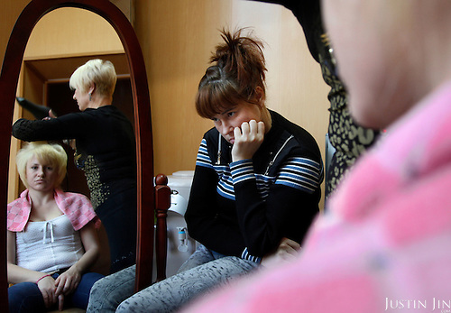 """Sex workers enjoy hair make over at the """"Kompas"""" help-center in Chelyabinsk city."""