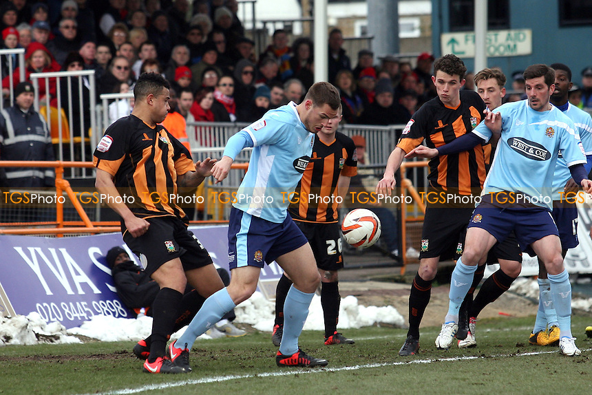 Luke Wilkinson of Dagenham controls the ball in the opponents area - Barnet vs Dagenham and Redbridge at the Underhill Stadium - 29/03/13 - MANDATORY CREDIT: Dave Simpson/TGSPHOTO - Self billing applies where appropriate - 0845 094 6026 - contact@tgsphoto.co.uk - NO UNPAID USE.