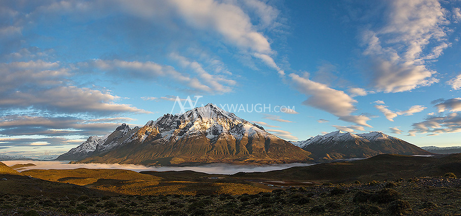 Sunrise on the mountains of Torres del Paine.