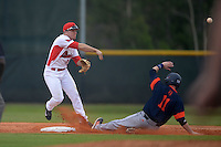 Illinois State Redbirds Joe Kelch (3) throws to first as Greg Wasikowski (11) slides in during a game against the Bucknell Bison on March 8, 2015 at North Charlotte Regional Park in Port Charlotte, Florida.  Bucknell defeated Illinois State 13-8.  (Mike Janes Photography)