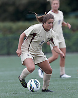 Boston College forward Stephanie McCaffrey (9) dribbles. Pepperdine University defeated Boston College,1-0, at Soldiers Field Soccer Stadium, on September 29, 2012.