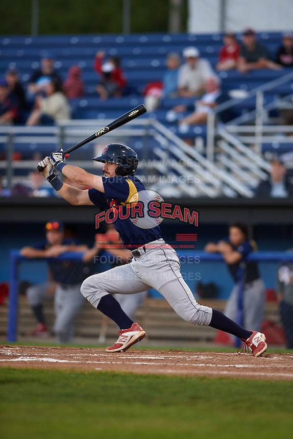 State College Spikes outfielder Michael Pritchard (5) at bat aduring a game against the Batavia Muckdogs August 22, 2015 at Dwyer Stadium in Batavia, New York.  State College defeated Batavia 5-3.  (Mike Janes/Four Seam Images)