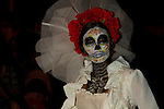 "Ghostly figures called  ""Katrinas"" inhabit the night in La Paz during Dia de Los Muertos (Day of the Dead"" in La Paz, Mexico and throughout Latin America."
