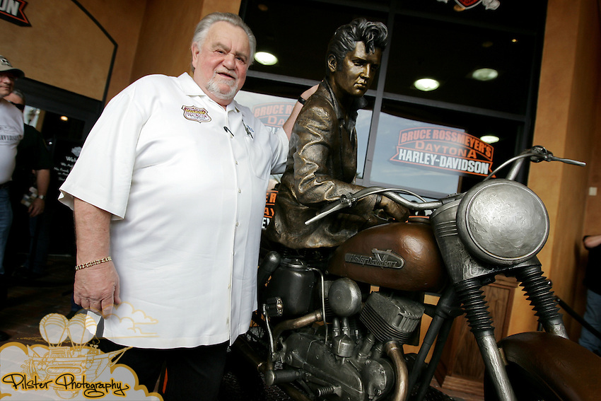 """The  unveiling of a life size Harley-Davidson® """"Elvis Presley on a Motorcycle"""" bronze sculpture, by sculptor Jeff Decker on Saturday, February 28, 2009, at Bruce Rossmeyer's Destination Daytona, home of the World's largest Harley-Davidson® dealership, in Ormond Beach. Decker also presented a Rossmeyer bronze bust. (Chad Pilster, PilsterPhotography.com for Zucker Public Relations)"""
