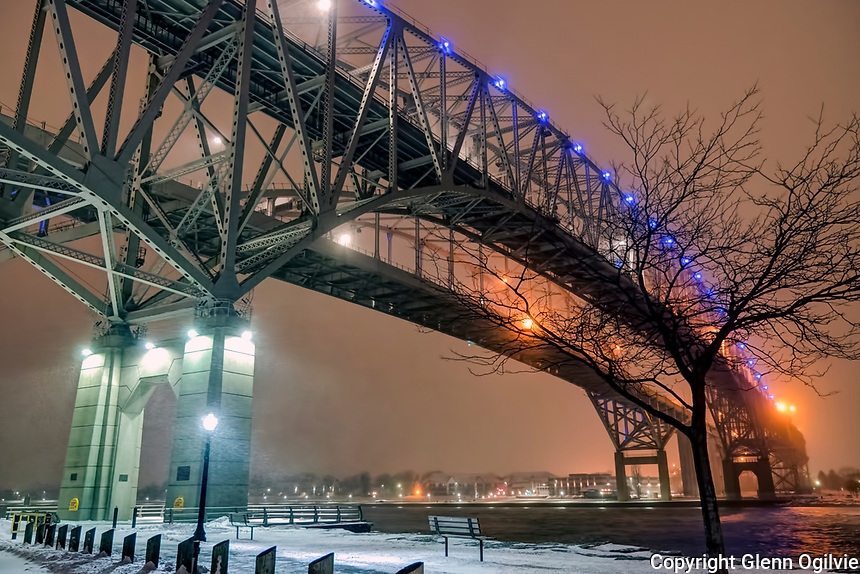 Blue Water Bridges span the St. Clair River joining Point Edward, Ontario to Port Huron, Michigan.