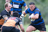Robert Katu makes one of his trademark determined runs during the Counties Manukau Premier Counties Power Club Rugby Round 2, Game of the Week, between Te Kauwhata and Onewhero, played at Te Kauwhata on Saturday March 17th 2018. <br /> Photo by Richard Spranger.<br /> <br /> Onewhero won the game 43 - 10 after leading 21 - 10 at halftime.<br /> Te Kauwhata EnviroWaste  10 - Lani Latu try,  Caleb Brown 1 conversion, Caleb Brown 1 penalty.<br /> Onewhero 43 - Jackson Orr 2, Ilaisa Koaneti 2, Vaughan Holdt, Zac Wootten, Rhain Strang tries, Vaughan Holdt 4 conversions.