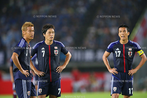 (L-R) Keisuke Honda, Yasuhito Endo, Makoto Hasebe (JPN), <br /> AUGUST 14, 2013 - Football / Soccer : <br /> KIRIN Challenge Cup 2013 match <br /> between Japan 2-4 Uruguay <br /> at Miyagi Stadium, Miyagi, Japan.<br />  (Photo by AFLO SPORT)