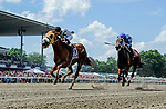 OCEANPORT, NJ - JULY 29: Bubba's Will, #10, ridden by Angel Castillo, wins an undercard race Haskell Invitational Day at Monmouth Park Race Course on July 29, 2018 in Oceanport, New Jersey. (Photo by Scott Serio/Eclipse Sportswire/Getty Images)