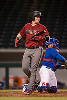 AZL Diamondbacks first baseman Jordan McArdle (45) at bat during an Arizona League game against the AZL Cubs 1 at Sloan Park on June 18, 2018 in Mesa, Arizona. AZL Diamondbacks defeated AZL Cubs 1 7-0. (Zachary Lucy/Four Seam Images)