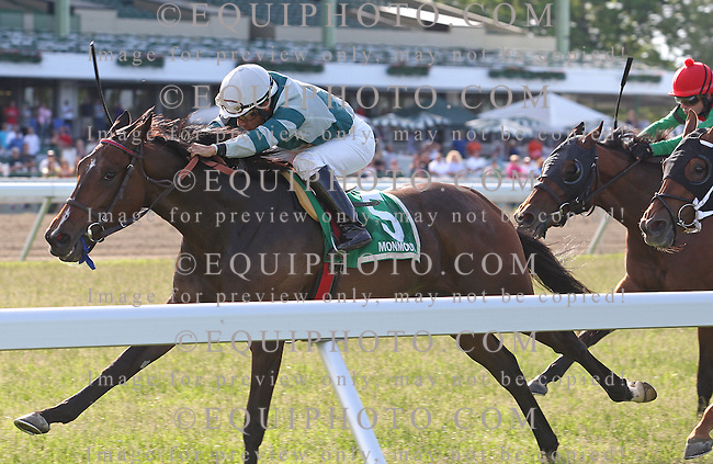 Rusty Slipper #5 with Paco Lopez riding won the $60,000 Little Silver Stakes at Monmouth Park in Oceanport, N.J. on Monday May 27, 2013.  Photo By Bill Denver/EQUI-PHOTO
