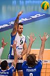 16.01.2019, ZF Arena, Friedrichshafen<br />Volleyball, 2019 CEV Volleyball Champions League, Vorrunde, VfB Friedrichshafen vs. Zenit St. Petersburg (RUS)<br /><br />Angriff Georg Grozer (#9 St. Petersburg) - Block / Doppelblock Athanasios Protopsaltis (#7 Friedrichshafen), Philipp Collin (#9 Friedrichshafen)<br /><br />  Foto &copy; nordphoto / Kurth