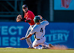 29 July 2018: Batavia Muckdogs infielder Demetrius Sims turns a double-play to end the 7th inning against the Vermont Lake Monsters at Centennial Field in Burlington, Vermont. The Lake Monsters defeated the Muckdogs 4-1 in NY Penn League action. Mandatory Credit: Ed Wolfstein Photo *** RAW (NEF) Image File Available ***