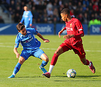 20191023 - Genk: Genk's Elias Sierra (left) and Liverpool's Elijah Dixon-Bonner (right) are battling for the ball during the UEFA Youth League group stages match between KRC Genk Youth and Liverpool FC on October 23, 2019 at KRC Genk Stadium Arena B, Genk, Belgium. PHOTO:  SPORTPIX.BE   SEVIL OKTEM