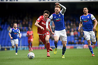 Nottingham Forest's Joe Lolley battles with Ipswich Town's Jon Nolan<br /> <br /> Photographer Hannah Fountain/CameraSport<br /> <br /> The EFL Sky Bet Championship - Ipswich Town v Nottingham Forest - Saturday 16th March 2019 - Portman Road - Ipswich<br /> <br /> World Copyright &copy; 2019 CameraSport. All rights reserved. 43 Linden Ave. Countesthorpe. Leicester. England. LE8 5PG - Tel: +44 (0) 116 277 4147 - admin@camerasport.com - www.camerasport.com