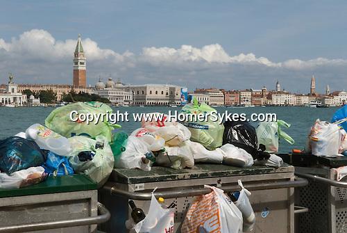 Venice Italy 2009. Rubbish collection public services from the island of  La Giudecca.