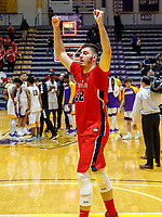 Stony Brook defeats UAlbany  69-60 in the America East Conference tournament quaterfinals at the  SEFCU Arena, Mar. 3, 2018.  Jakub Petrus (#32) celebrates the win.