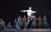 Qi Huan as James. Dress rehearsal of La Sylphide (some parts in partial costume). Australia's Queensland Ballet makes its London Coliseum debut with La Sylphide, the August Bournonville ballet is choreographed by Peter Schaufuss. Performances at the Coliseum from 5 to 8 August 2015. Photo credit: Bettina Strenske