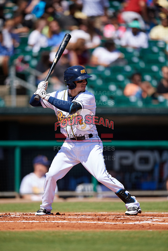 Montgomery Biscuits shortstop Andrew Velazquez (5) at bat during a game against the Mississippi Braves on April 25, 2017 at Montgomery Riverwalk Stadium in Montgomery, Alabama.  Mississippi defeated Montgomery 3-2.  (Mike Janes/Four Seam Images)