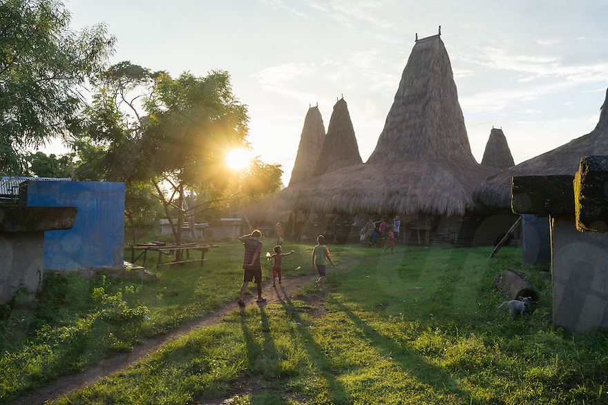 March 24, 2016 - Wainyapu (Indonesia). Kids walk back to one of the traditional house of Wainyapu. The remote village is situated along the west coast of Sumba island, and is one of the location of the centuries-old harvest festival known as Pasola. <br /> The festival involves two teams of men on horseback charging towards each other while trying to hit their rivals with 'pasol' javelins and avoid being hit themselves. &copy; Thomas Cristofoletti / Ruom