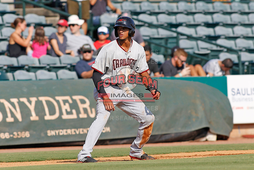 Hickory Crawdads outfielder Bubba Thompson (25) leading off third base during a game against the Charleston Riverdogs at the Joseph P. Riley Ballpark in Charleston, South Carolina.  Hickory defeated Charleston 8-7. (Robert Gurganus/Four Seam Images)