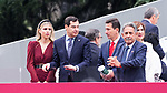 President of Andalusia Juan Manuel Moreno Bonilla with his wife Manuela Villena  and President of Cantabria Miguel Angel Revilla during the Military parade because of the Spanish National Holiday. October 12, 2019.. (ALTERPHOTOS/ Francis Gonzalez)