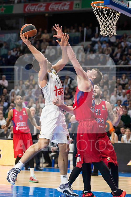 Real Madrid's player Felipe Reyes and CSKA Moscu's player Vorontsevich during the match between Real Madrid and CSKA Moscu of Turkish Airlines Euroleague at Barclaycard Center in Madrid, March 02, 2016. (ALTERPHOTOS/BorjaB.Hojas) during the match between Real Madrid and CSKA Moscu of Turkish Airlines Euroleague at Barclaycard Center in Madrid, March 02, 2016. (ALTERPHOTOS/BorjaB.Hojas)