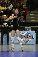 15 December 2007: Stanford Cardinal Cassidy Lichtman during Stanford's 25-30, 26-30, 30-23, 30-19, 8-15 loss against the Penn State Nittany Lions in the 2007 NCAA Division I Women's Volleyball Final Four championship match at ARCO Arena in Sacramento, CA.