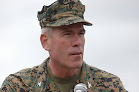 Monday December 8, 2008:  University City, San Diego California.  Col. Chris O'Connor, the commanding officer of the Marine Corp Air Station Miramar address the media at the scence where a military jet from his air station crashed into a residential home killing at least 3 civilians.  At approximately 11:59am a USMC F-18 fighter jet encountered trouble over this residential area of the city and the pilot ejected leaving his aircraft to crash into a residential neighborhood.