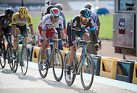 In a 2nd group that entered the legendary velodrome, Sir Bradley Wiggins (GBR/Sky) crosses the finish line for a first time and drags Alexander Kristoff (NOR/Katusha) &amp; Sep Vanmarcke (BEL/LottoNL-Jumbo) in his wheel<br /> <br /> 113th Paris-Roubaix 2015