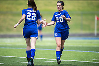 NWA Democrat-Gazette/CHARLIE KAIJO Rogers High School midfielder Grace Carrol (20) subs out as midfielder Hannah Sloan (22) enters the field during the semifinals of the 7A Girls State Soccer Tournament, Saturday, May 12, 2018 at Whitey Smith Stadium at Rogers High School in Rogers. Rogers advanced to the finals when midfielder Skylurr Patrick (3) scored both of Rogers' goals defeating Southside High School, 2-1.