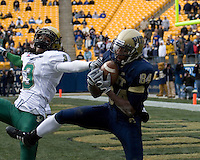 South Florida Bulls defensive back Jerome Murphy(3) watches helplessly as Pitt Panthers wide receiver Maurice Williams hauls in a 37-yard touchdown reception. Despite the catch the Bulls were able to defeat the Panthers 48-37 on November 24, 2007 at Heinz Field in Pittsburgh, Pennsylvania.